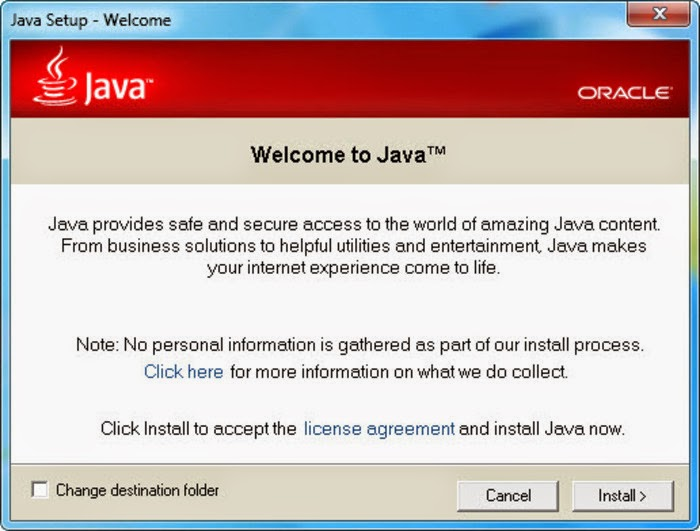 This web page is your source to download or update your current Java Runtime Environment