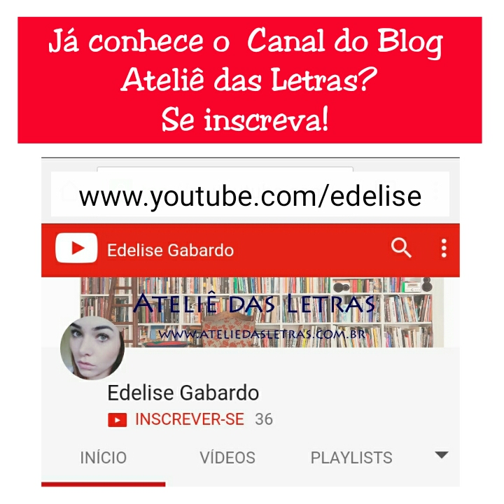 Canal do Ateliê das Letras no YOUTUBE