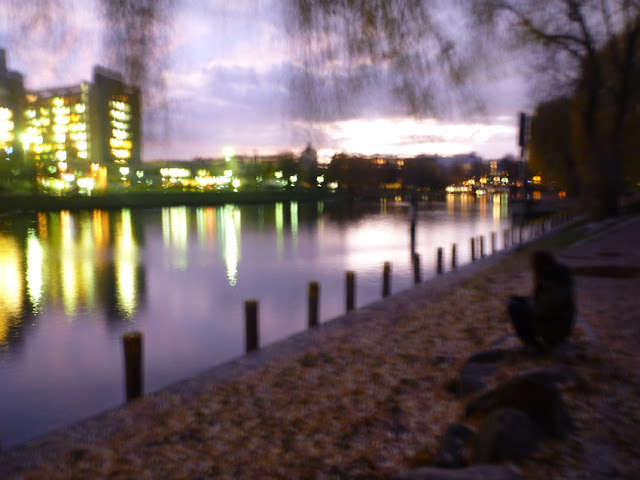 Ein Bild wie mit einer Lochkamera aufgenommen: Alles ist unscharf und die Farben sind verwaschen: Krankenhaus, Wasser, Licht, Herbstlaub ...