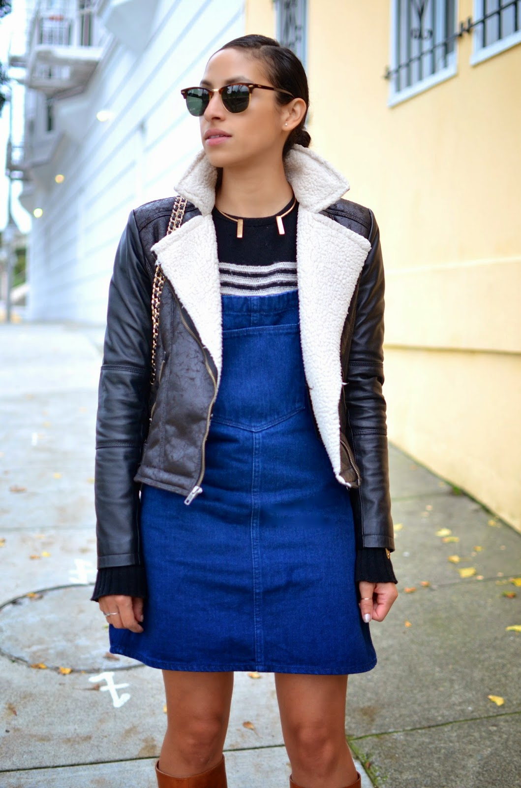SF style, zara overalls, denim, dungarees, shearling moto