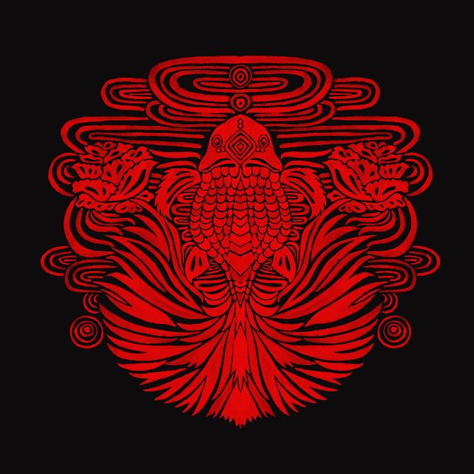 The Red Goldfish Illustration Printed on Merchandise Illustration by Haidi Shabrina