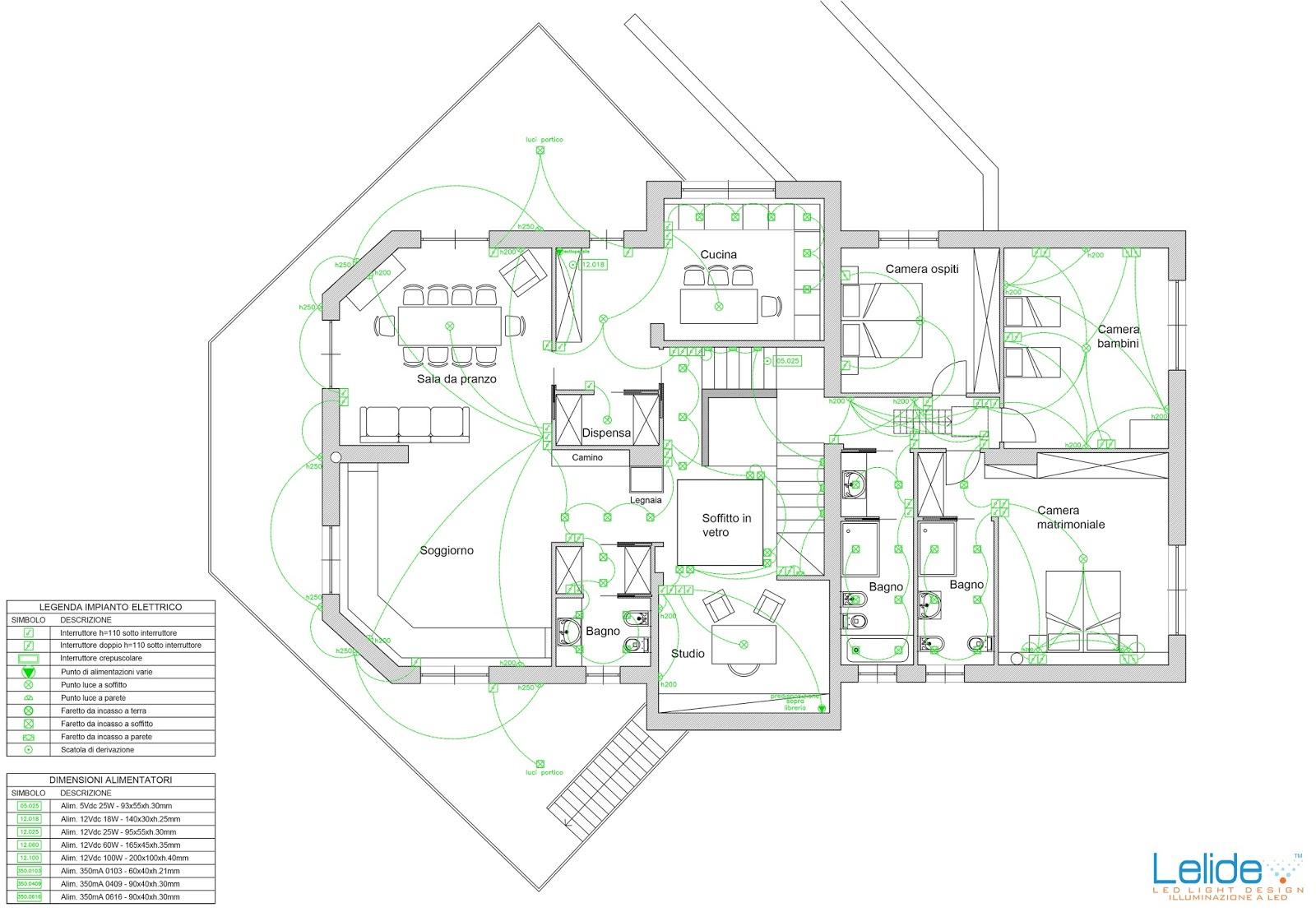 Illuminazione led casa il progetto illuminotecnico for Progettazione impianto elettrico casa