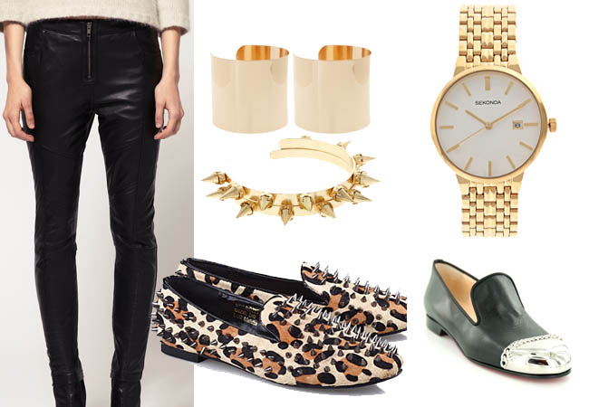 loafers,black gold,gucci,leather trousers,punk cuff,studded loafers,metal tip toe