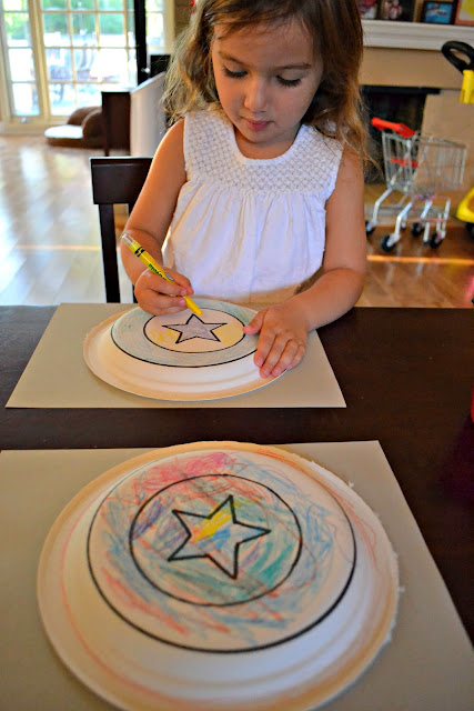 Coloring our Captain America shields before dinner #MarvelAvengersWMT