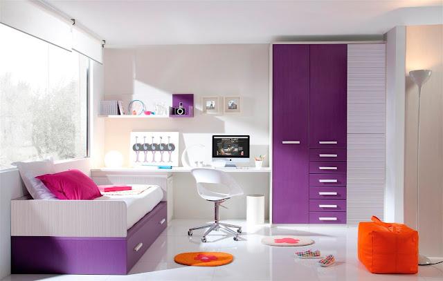 Dormitorio juvenil con escritorio integrado dormitorio for Dormitorios estudiantes decoracion