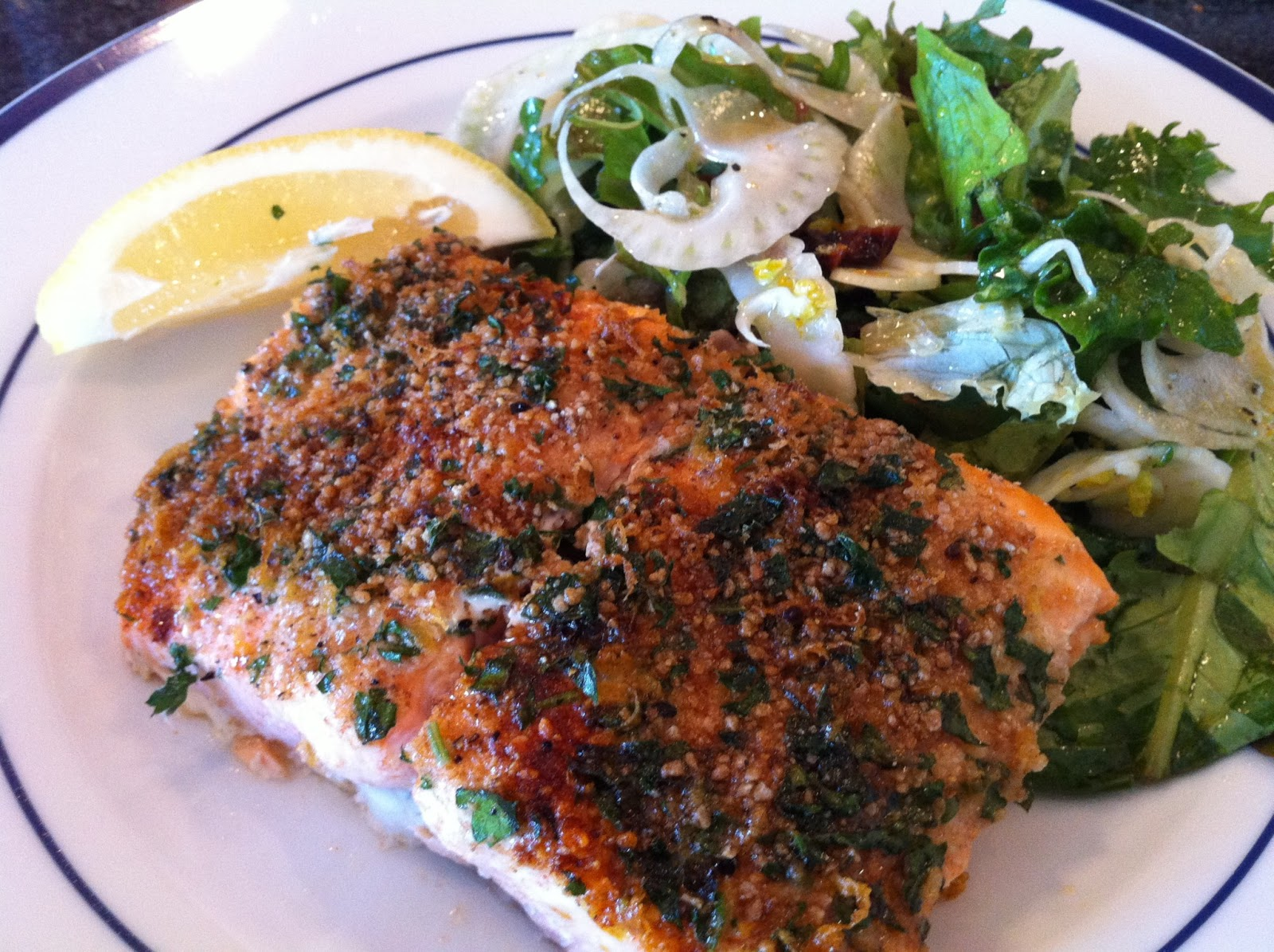 Crunchy Roasted Salmon with Baby Greens & Fennel Salad ...