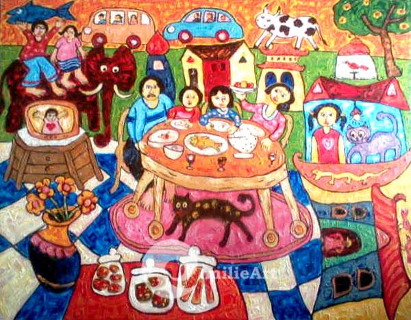 lukisan naive wisata keluarga