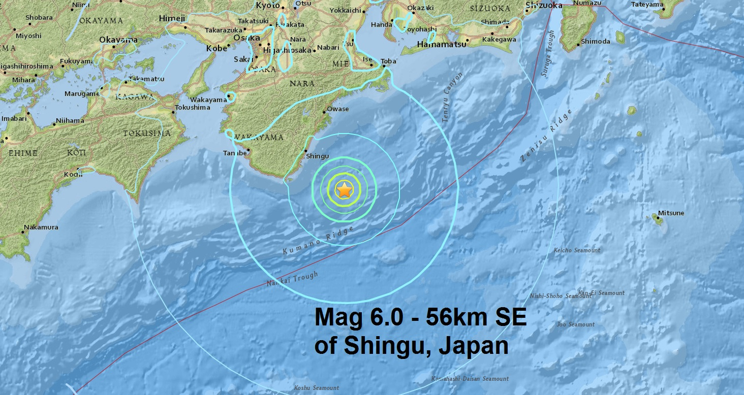 April has it's first major quake....A mag 6.0 - NEAR S. COAST OF WESTERN HONSHU, JAPAN