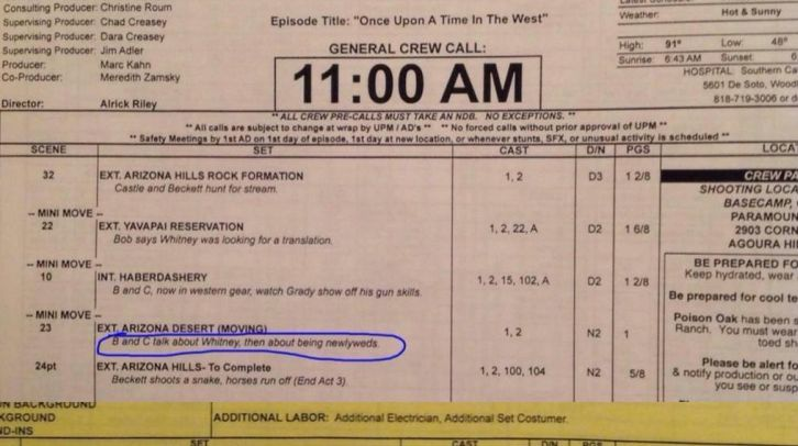 Castle - Episode 7.07 - Once Upon A Time In The West - Leaked Call Sheet with Spoilers