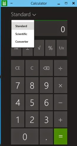 Standard and scientific calculator and converter in windows 10