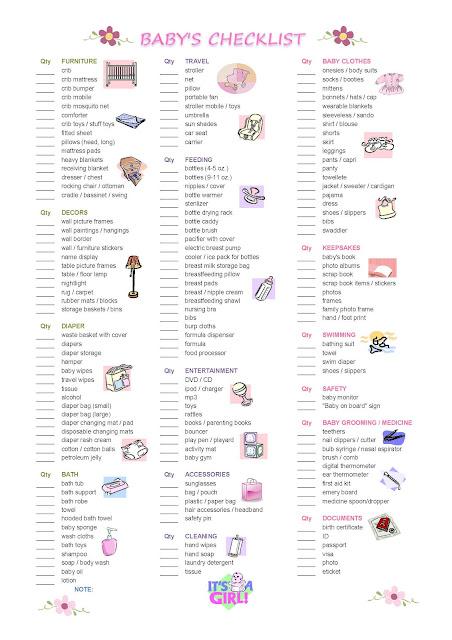 parenthood baby girl checklist
