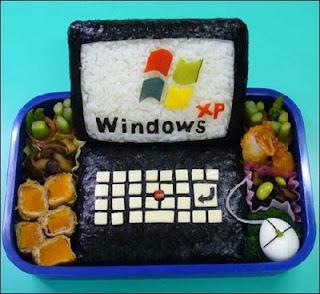 Tartera Windows Xp hechos con comida