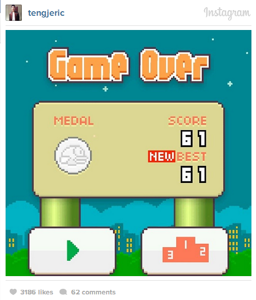 flappy bird game over score 61