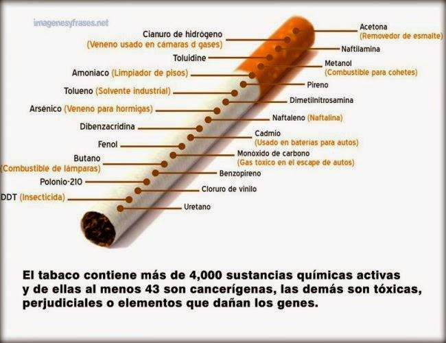 sustancias químicas nocivas presentes en los cigarrillos