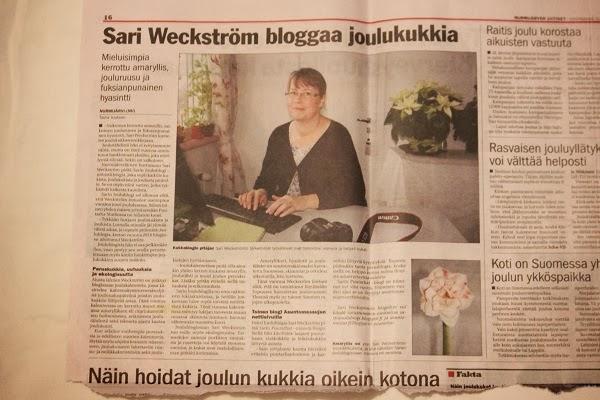 Nurmijärven Uutisissa juttu Sarin joulublogista, jee!
