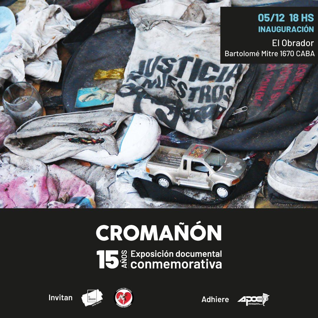 """Jueves 5/12 - 18 hs inaugura """"Cromañón 15 años • exposición documental conmemorativa""""."""