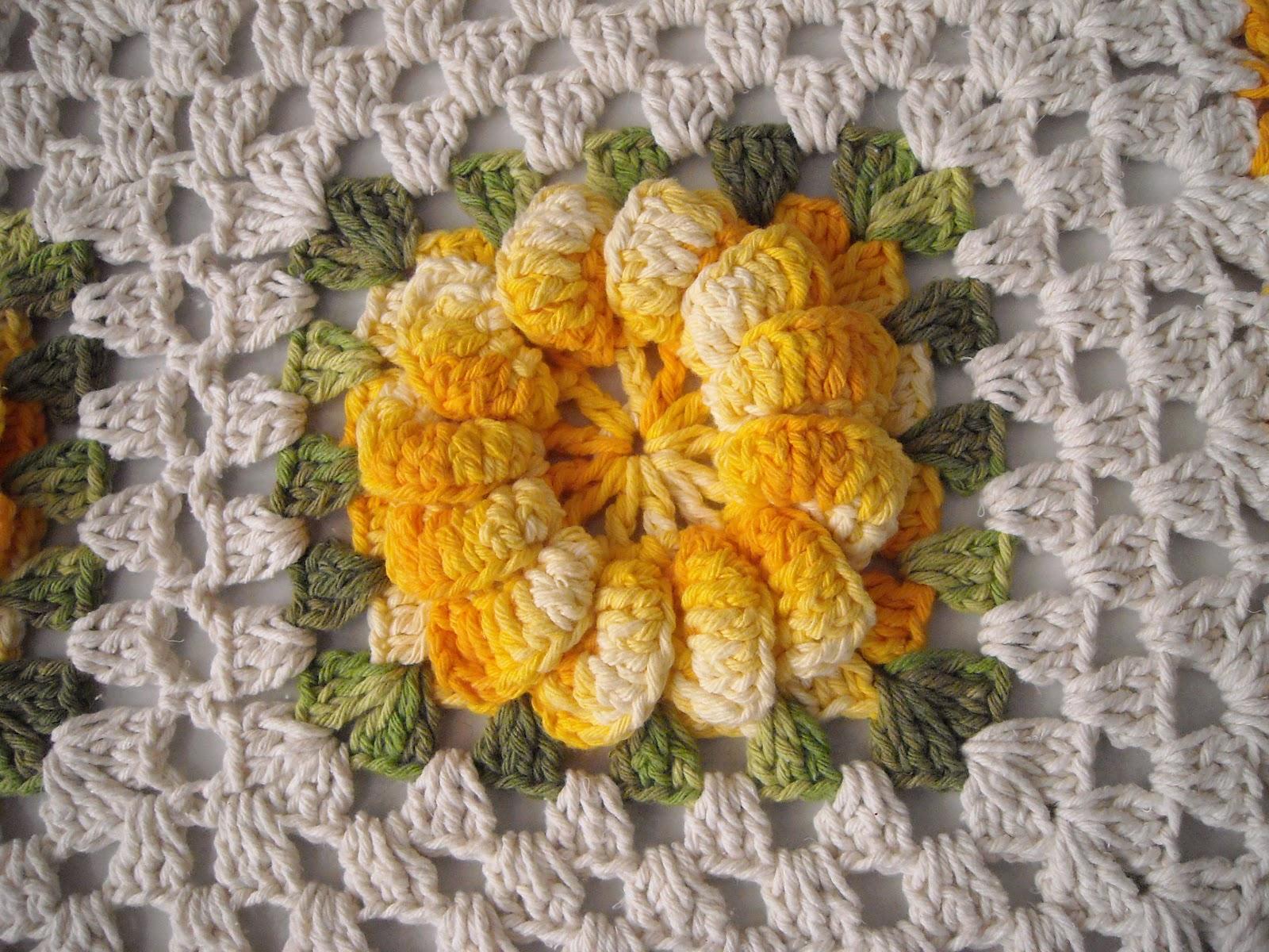 os croches da elsa tapete   flor de gomos