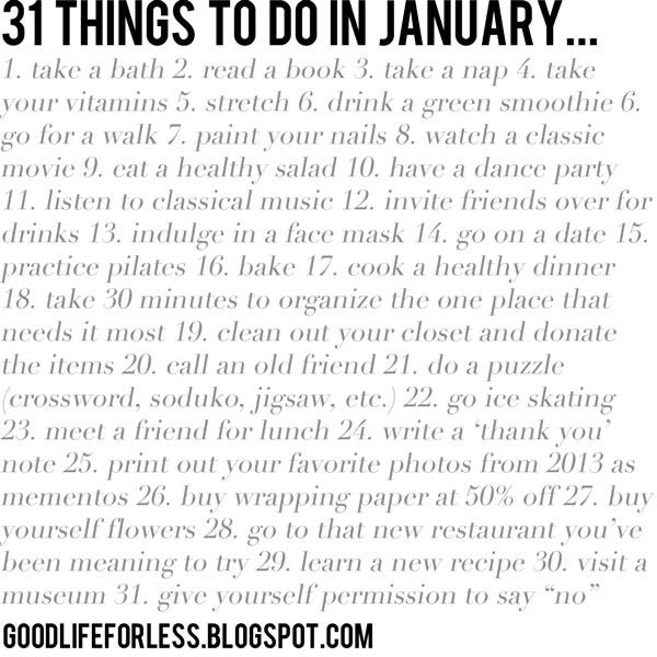 31 januarskih opravil