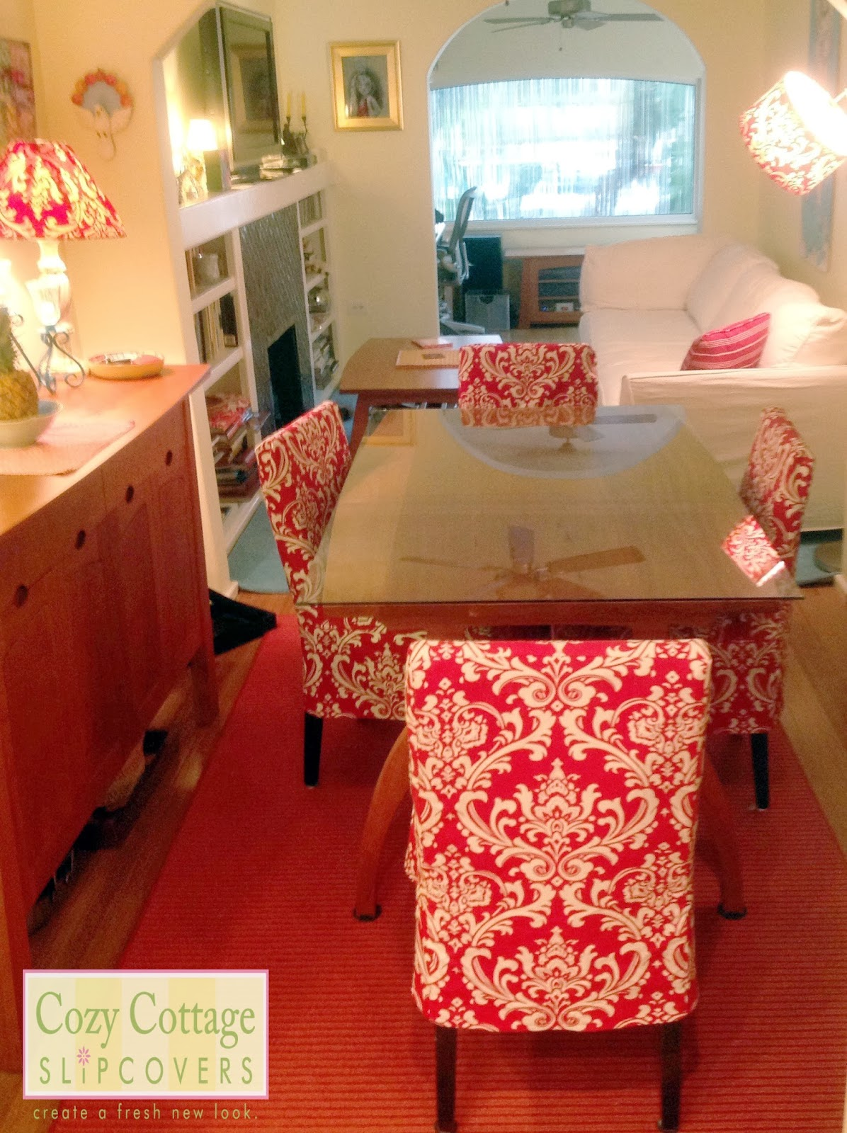 Cozy cottage slipcovers new office chair slipcovers - My Customer Lives In Florida And I Made The Slipcovers From Measurements Alone She Chose This Beautiful Bold Red Patterned Fabric