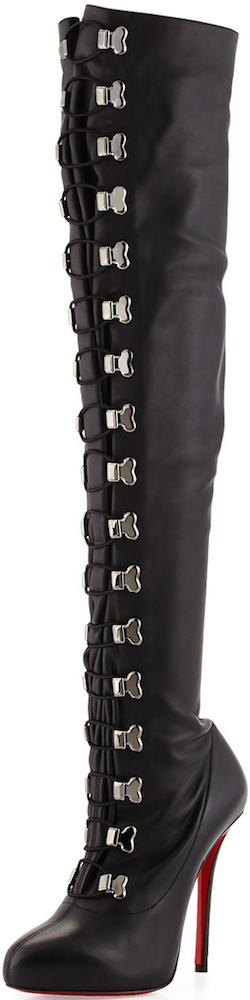 Christian Louboutin Top Croche Over-the-Knee Red Sole Boot black