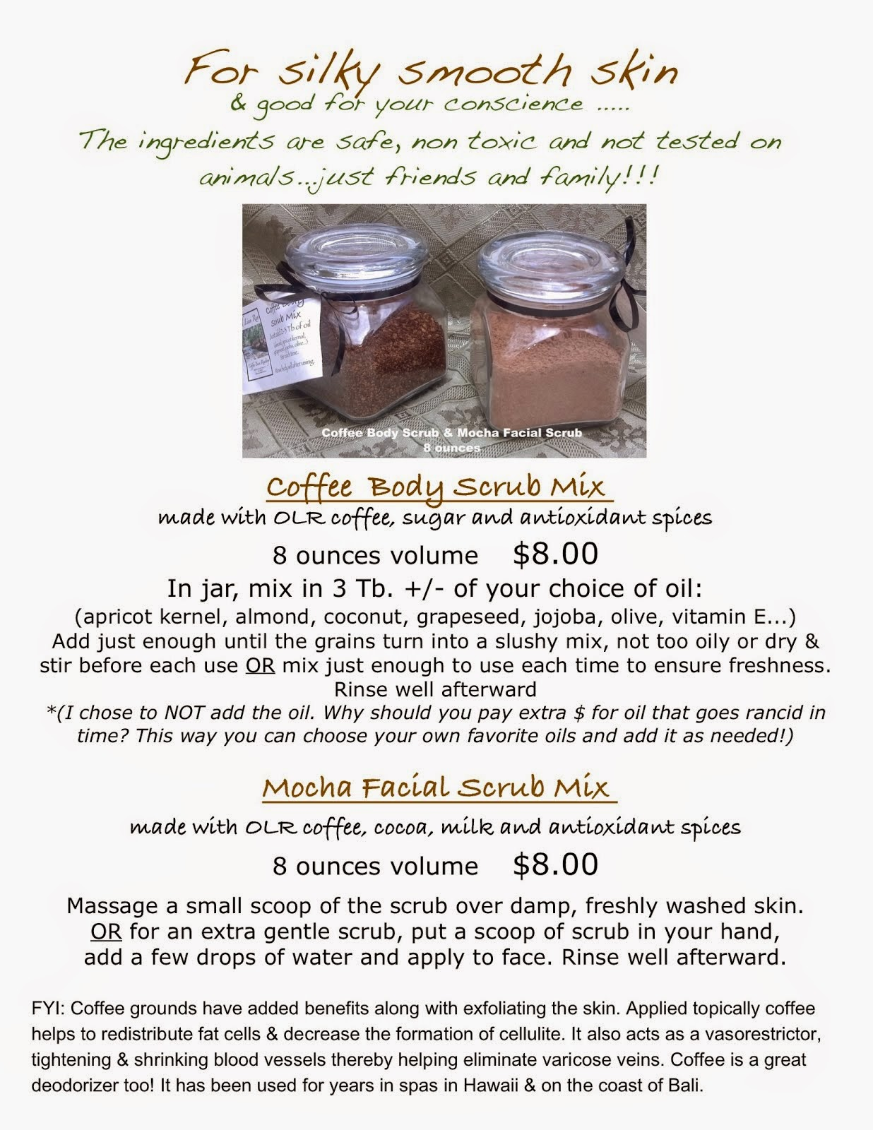 Coffee body scrubs & Mocha facial scrubs