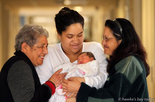 Four generations L-R: Matarita Lovey Edwards, great-grandmother, Hastings, Sheri Heather, mother, Waipukurau, Charmaine Heather, Nanny, Waimarama, with newborn daughter Chevrolet Wirangi, born at Hawke's Bay Hospital, the same day as the royal baby of Kate and Prince William was born in England