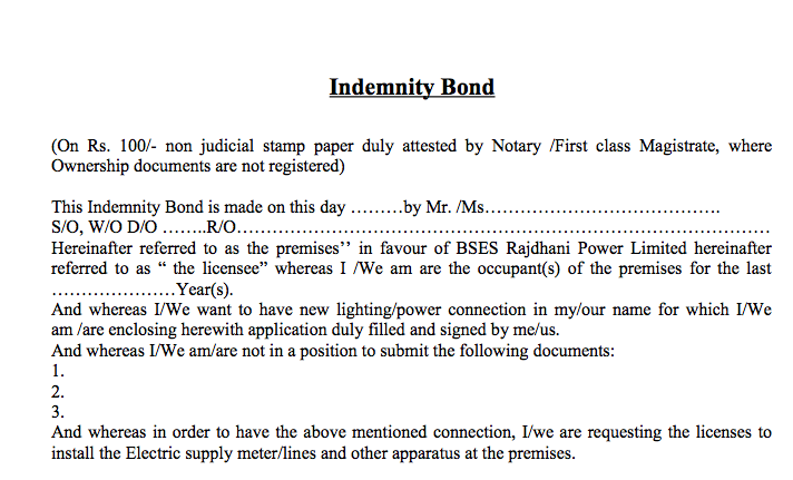 BSES Rajdhani Idemnity Bond Format Sample Download By – Sample of Indemnity Form