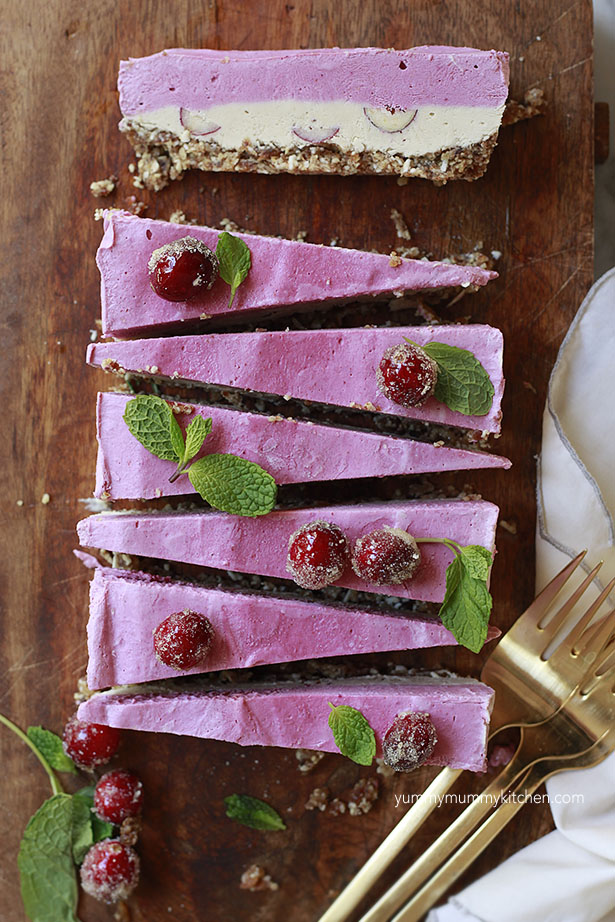 Cranberry Raw Vegan Cheesecake Slice Recipe