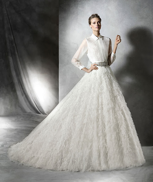2016 Pronovias long sleeved shirt with high volume micro-frills skirt