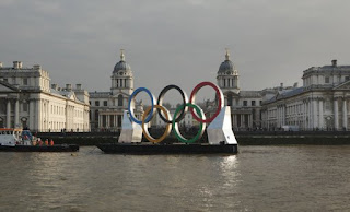London Olympics 2012 : Giant Olympic Rings Launched on the River Thames