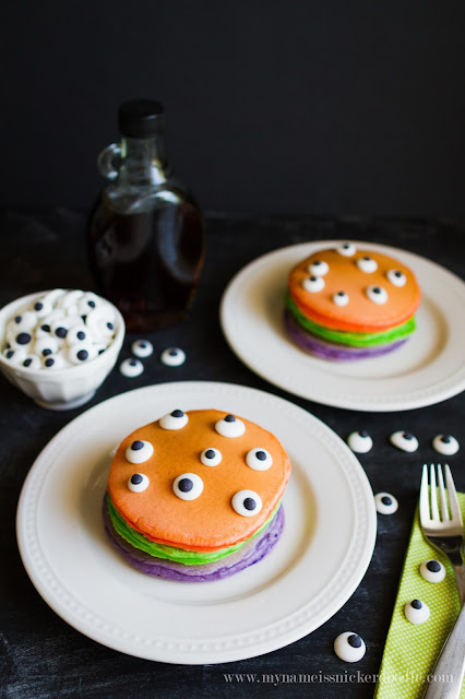 Halloween Trick or Treat Pancakes!  How fun are these for a great and fun breakfast in October.  This recipe couldn't be easier.     My Name Is Snickerdoodle