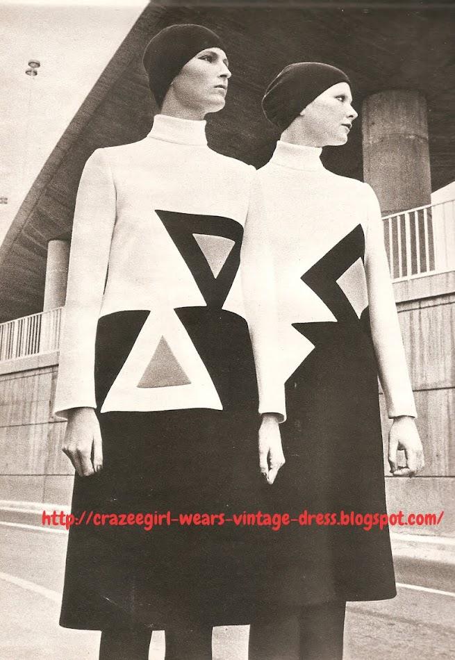 Dress - Pierre Cardin - 1971 70s 1970 geometric