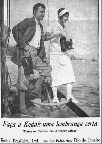 Propaganda da Kodak em 1908 para promoção de máquina fotográfica e equipamentos.
