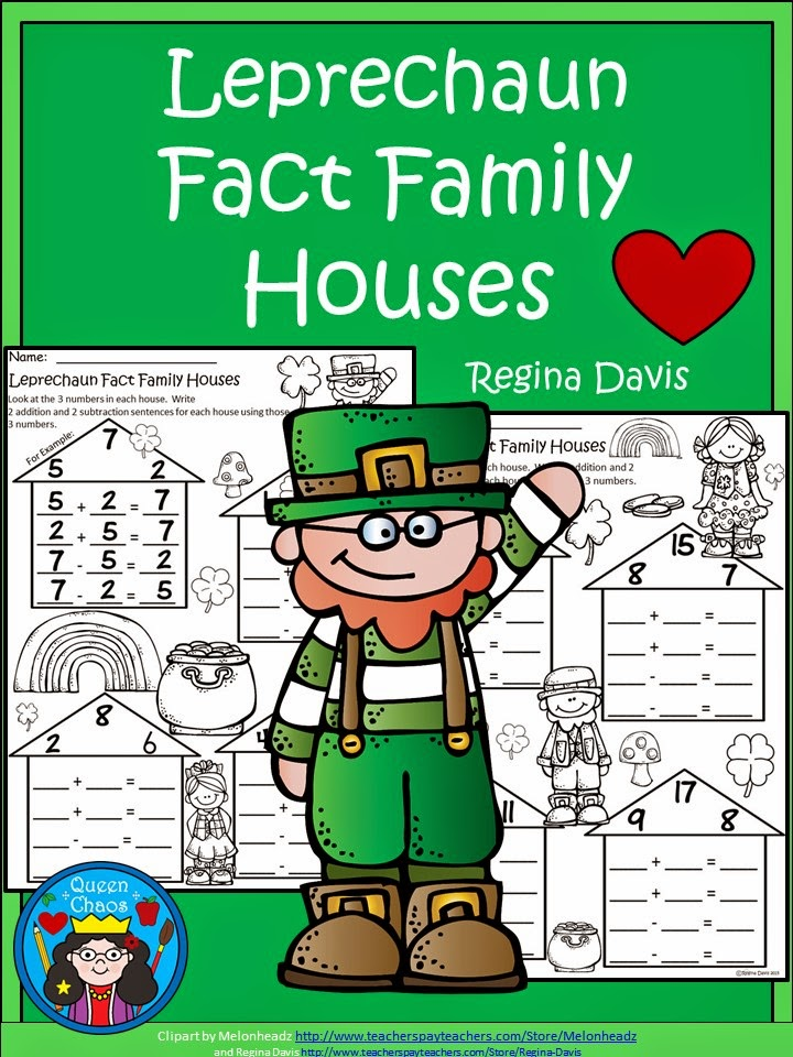 https://www.teacherspayteachers.com/Product/A-Leprechaun-Fact-Family-HousesSt-Patricks-Day-Math-1752120