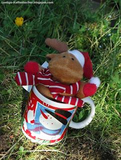Kaffeebecher mit Schneemann und Weihnachtsmann Elch