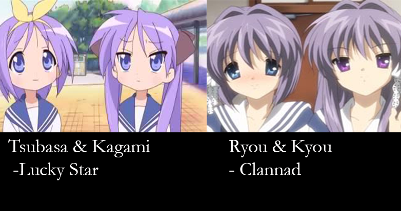 Similar characters , twins - tsubasa kagami ryou kyou