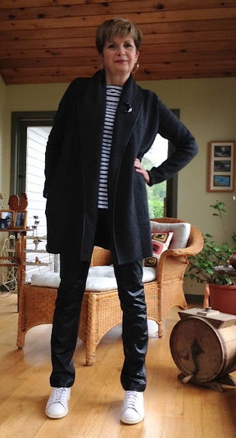 Vince coat sweater, Holt Renfrew brand leather pants, ALC tee, Stan Smith Adidas