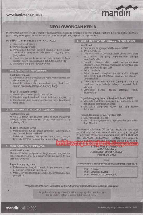 Info lowongan kerja di salah satu perusahaan milik BUMN; Bank Mandiri