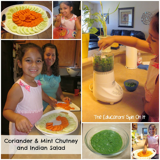 Indian Recipes for Kids to make as they learn about the world with food. This recipe features how easy it is to make mint chutney with kids