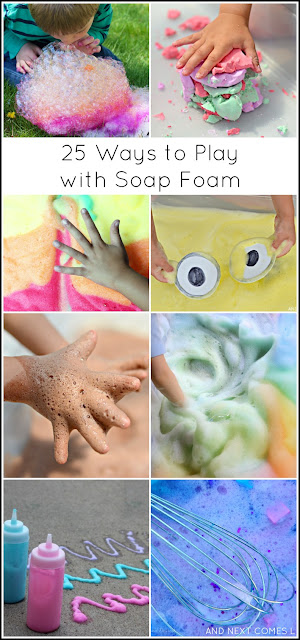 25 soap foam sensory activities for kids from And Next Comes L