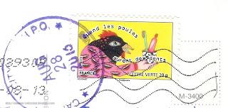 """2013 stamp; """"Quand les poules auront des dents"""""""