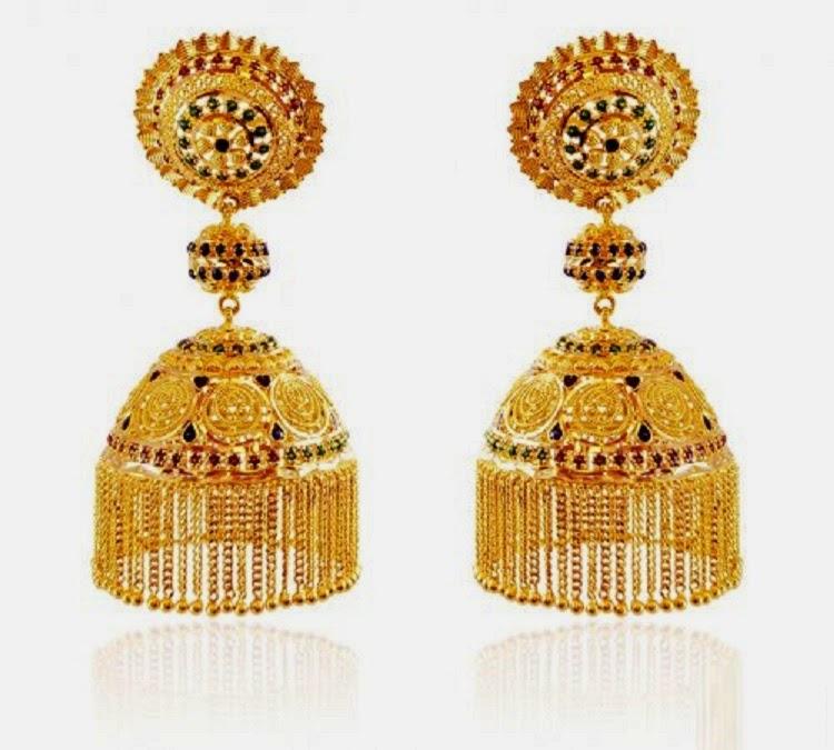Latest Gold Jhumka Earring Designs HD Wallpaper - all 4u wallpaper