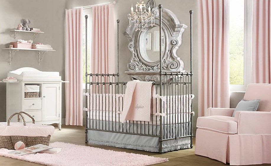 Interior design elegant pink white gray baby girl room for Baby pink bedroom ideas