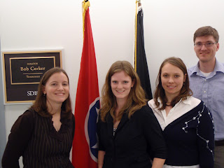 (From left) Kelly Sturner (NIMBioS), Jessica Bryant (EEB), and Emily Austin (EEB) met with Hunter Bethea, a legislative assistant of Sen. Corker.
