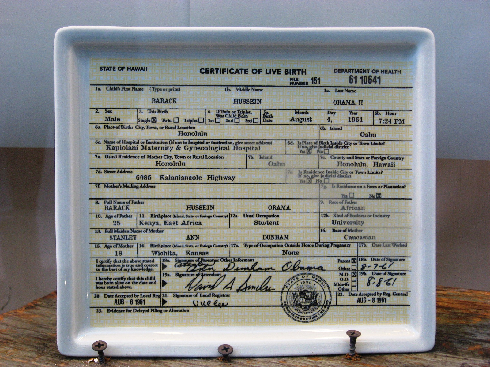 Urban infidel barack hussein obama birther certificate ceramic barack hussein obama birther certificate ceramic tray for sale in new york city aiddatafo Images