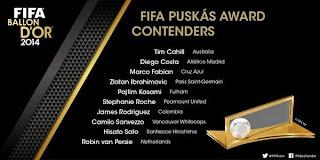Inilah Daftar 10 Gol Terbaik Calon Penerima FIFA Puskas Award 2014