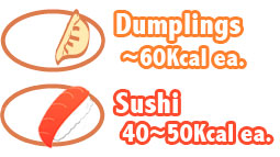 calories in 1 dumpling is ~60Kcal, calories in 1 piece of sushi is ~40-50Kcal.