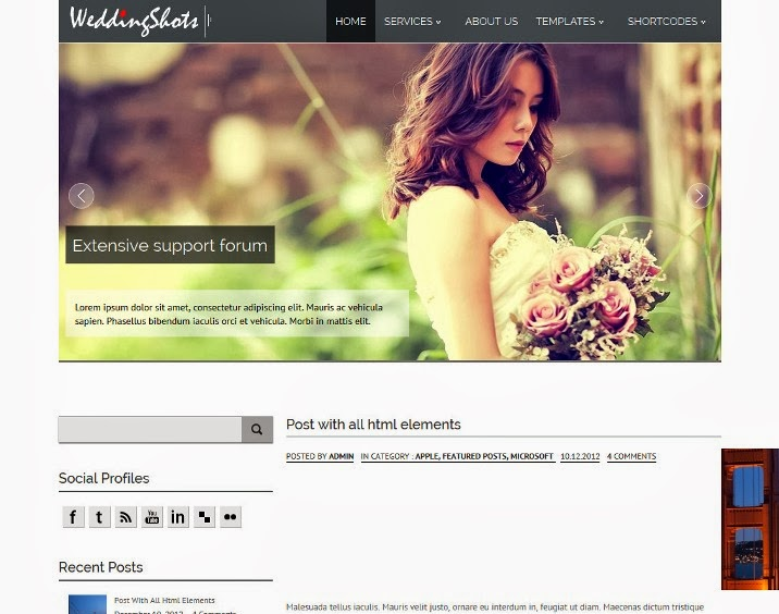 WeddingShots Free Responsive WordPress Theme