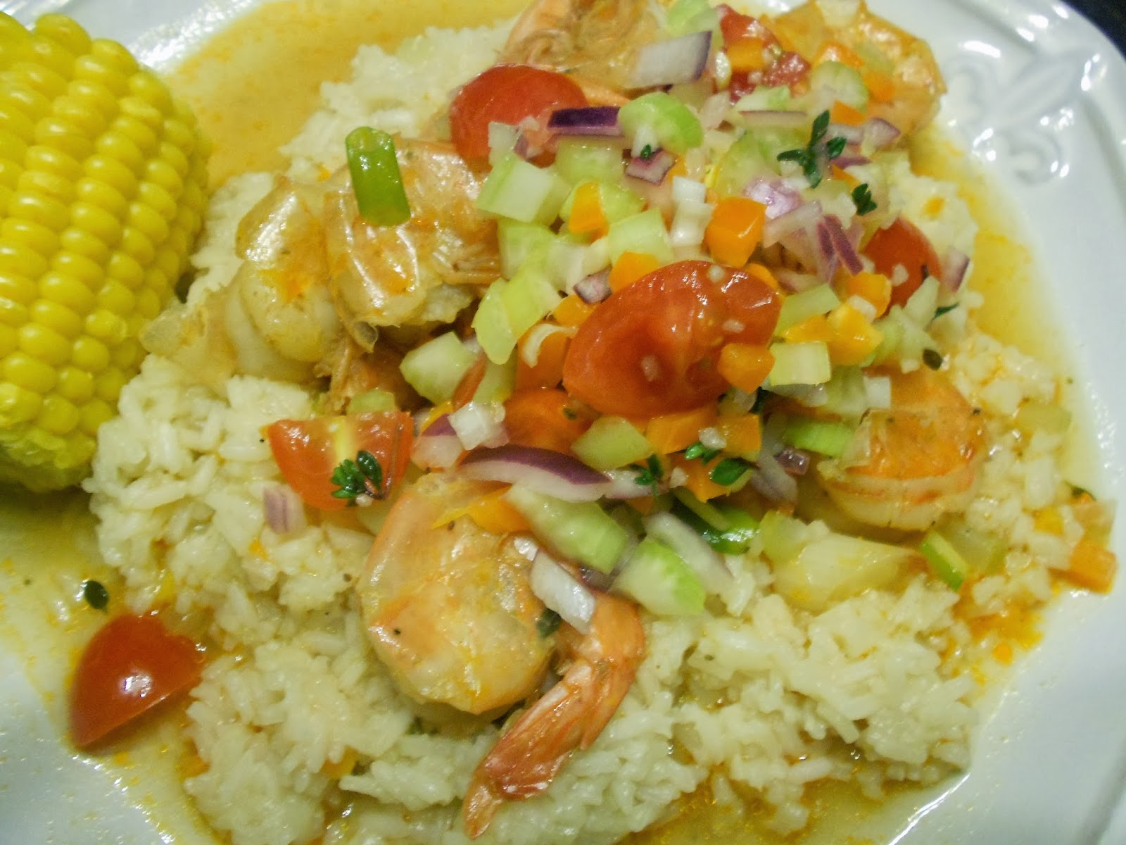beer-braised shrimp with louisiana salsa and rice