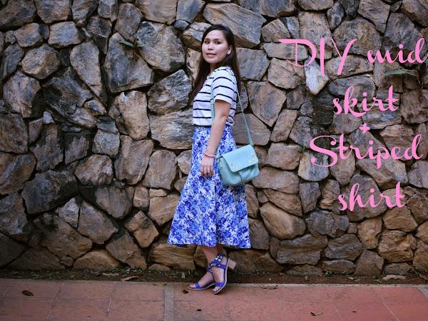 Outfit Diary: DIY midi flower skirt with blue striped shirt | Putrajaya Botanical Garden